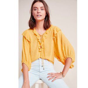 Anthropologie Peasant Puff Sleeve Top Yellow XS